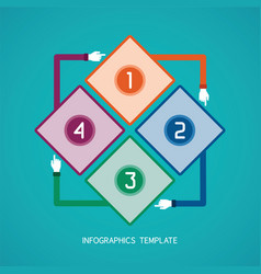 Abstract 4 steps infographic template in flat vector