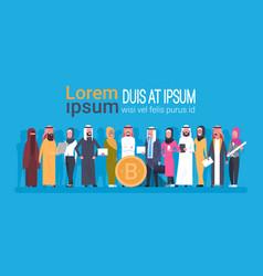 arabian people holding bitcoin coin crypto vector image