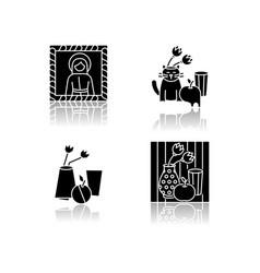 Art movements drop shadow black glyph icons set vector