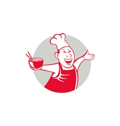 Asian Chef Serving Noodle Bowl Dancing Circle vector image