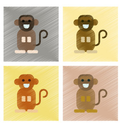 Assembly flat shading style icons cartoon monkey vector