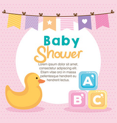 baby shower card with set items vector image
