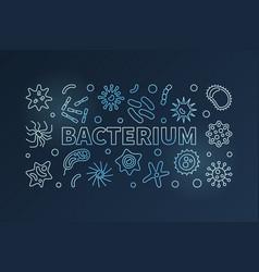 Bacterium blue line banner microbiology vector