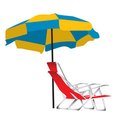 Beach umbrella and chair vector