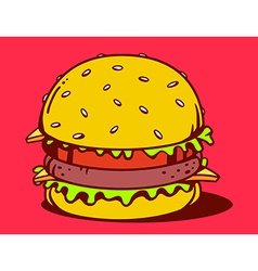big classic burger on red background vector image