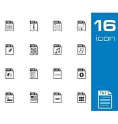 black file type icons set vector image