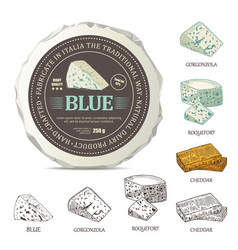 Blue cheese sticker design on mockup wrapper vector