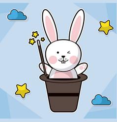 bunny magician hat fantasy image vector image