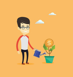 Business man watering money flower vector