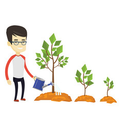 business man watering trees vector image