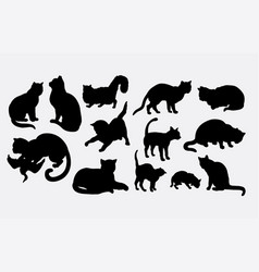 Cat mammal animal silhouette vector