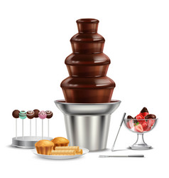 chocolate fountain realistic composition vector image