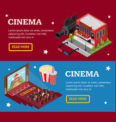 cinema concept movie banner horizontal set vector image