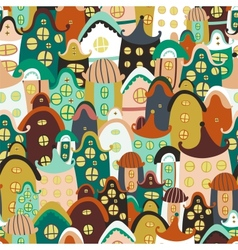 Colorful seamless pattern with cartoon houses vector image