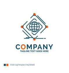 Complex global internet net web logo design blue vector