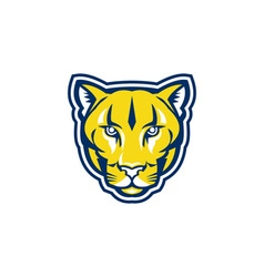 Cougar Mountain Lion Head Retro vector image vector image