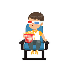 cute astonished little boy in 3d glasses sitting vector image