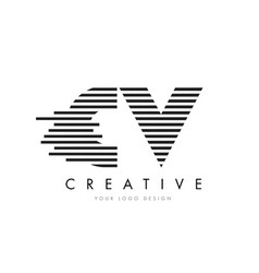 cv c v zebra letter logo design with black and vector image