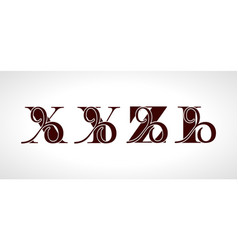 decorative capital letters x y z i for your vector image