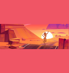 desert with road and girl silhouette at sunset vector image
