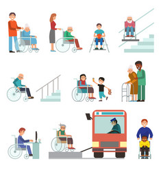 Disabled handicapped diverse people wheelchair vector