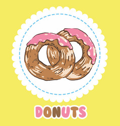 Donuts with pink tasty glazing donut icon vector