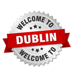 Dublin 3d silver badge with red ribbon vector