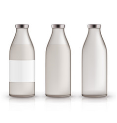 empty full closed milk jars realistic glass vector image