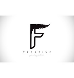 F feather letter logo icon design with feather vector