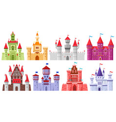 fairytale medieval towers cartoon royal kingdom vector image