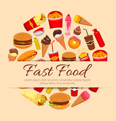 Fast food snacks and desserts poster vector