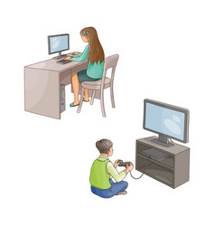 Flat girl using pc boy plays in video game vector