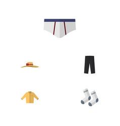 flat icon garment set of foot textile pants vector image