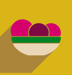 Flat web icon with long shadow fruit dish vector
