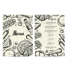 food and drink menu design with prices vector image