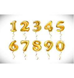 golden number 1 2 3 4 5 6 7 8 9 0 metallic vector image