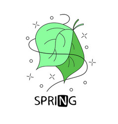 green doodle typography poster with leaf cartoon vector image