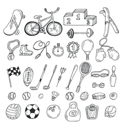 Hand drawn sport icon set Fitness and sport vector