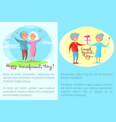 Happy grandparents day posters with senior couples vector