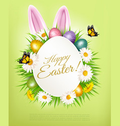 Holiday gift card with easter eggs and daisies vector