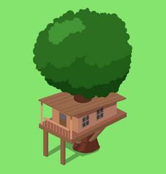 house on tree isometric vector image