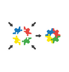 icon concept of jigsaw puzzle gear connected vector image