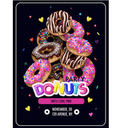 invitation for donuts party flyer vector image