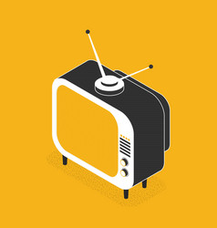 isometric retro tv in flat style vector image