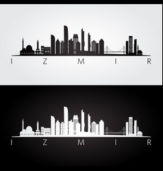izmir skyline and landmarks silhouette vector image
