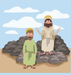 Jesus the nazarene and thaddeus in scene in desert vector
