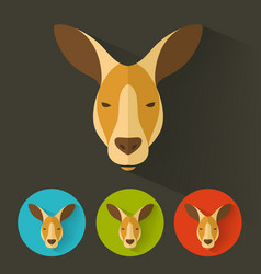 kangaroo portrait with flat design vector image