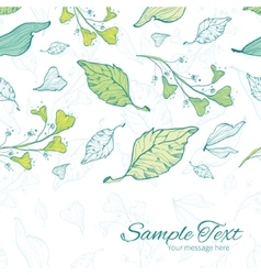 Lineart spring leaves horizontal border vector