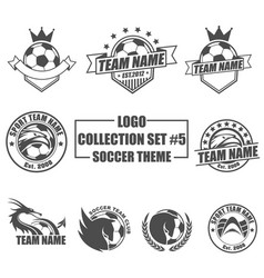 Logo collection set with soccer theme vector