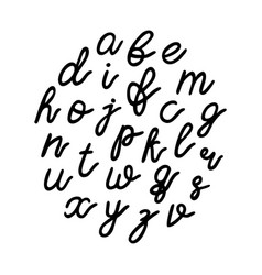 lowercase black hand drawn letters isolated on vector image vector image
